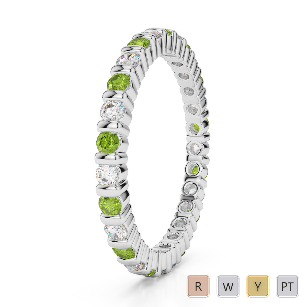 2 MM Gold / Platinum Round Cut Peridot and Diamond Full Eternity Ring AGDR-1092