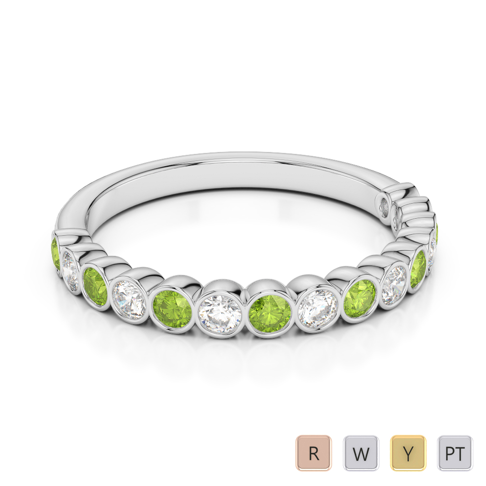 2.5 MM Gold / Platinum Round Cut Peridot and Diamond Half Eternity Ring AGDR-1102