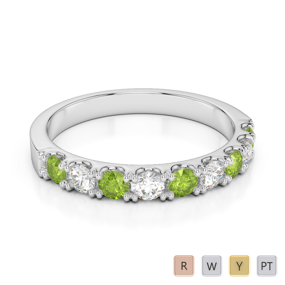 2.5 MM Gold / Platinum Round Cut Peridot and Diamond Half Eternity Ring AGDR-1124