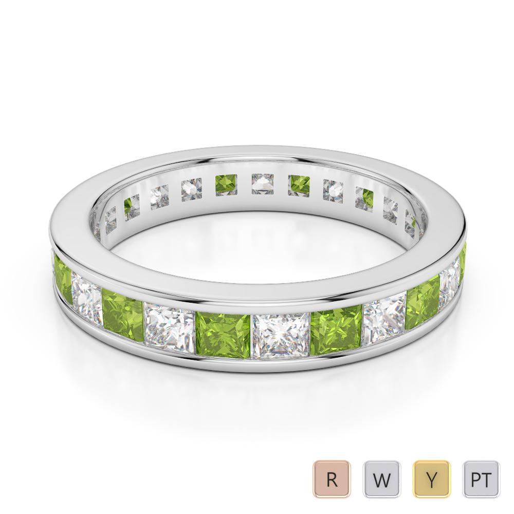 4 MM Gold / Platinum Princess Cut Peridot and Diamond Full Eternity Ring AGDR-1134