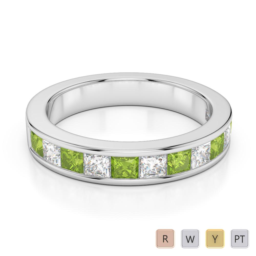 4 MM Gold / Platinum Princess Cut Peridot and Diamond Half Eternity Ring AGDR-1137