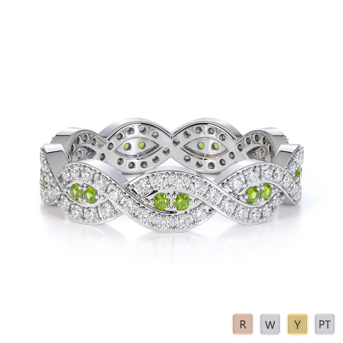 Gold / Platinum Peridot and Diamond Full Eternity Ring RZ1498