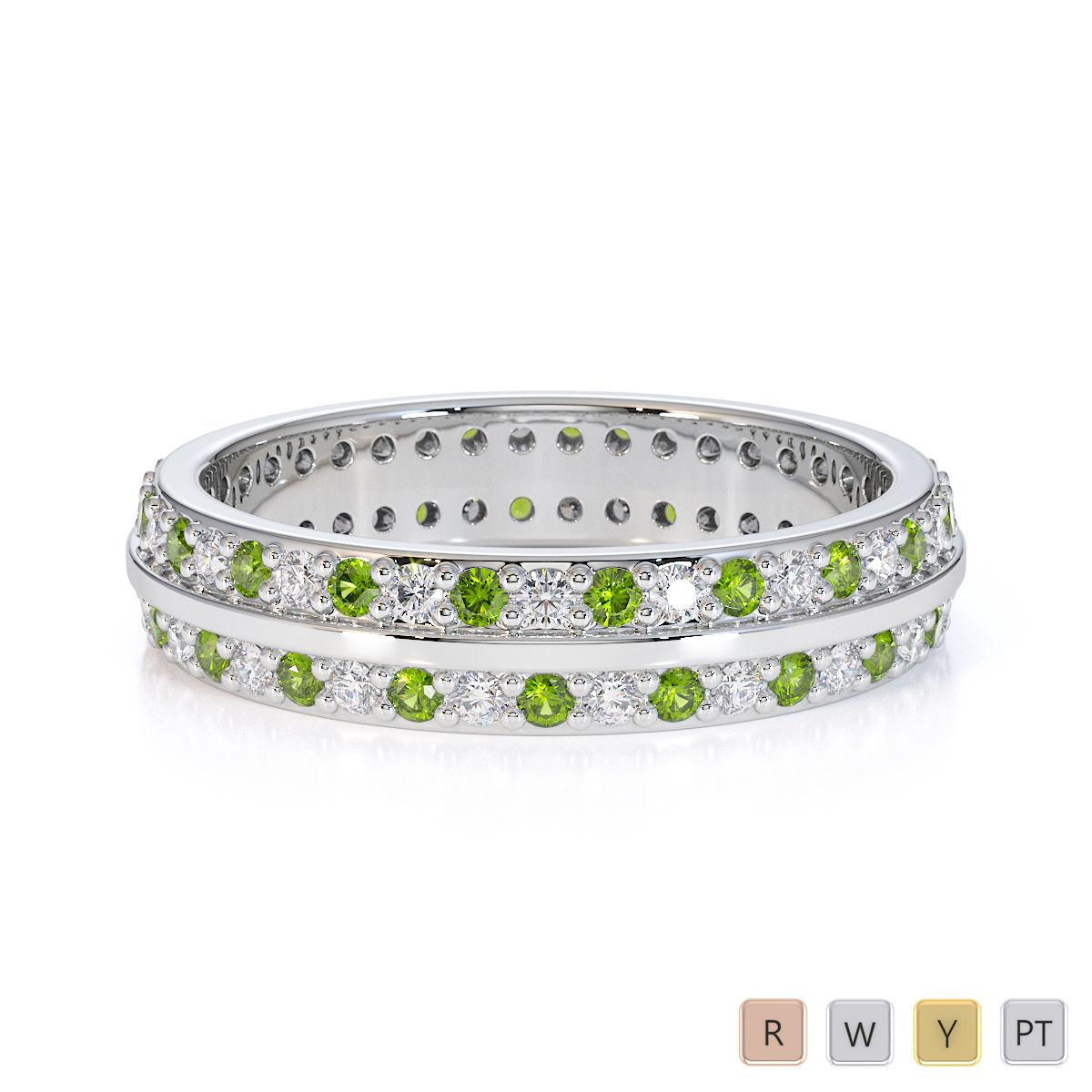 Gold / Platinum Peridot and Diamond Full Eternity Ring RZ1504