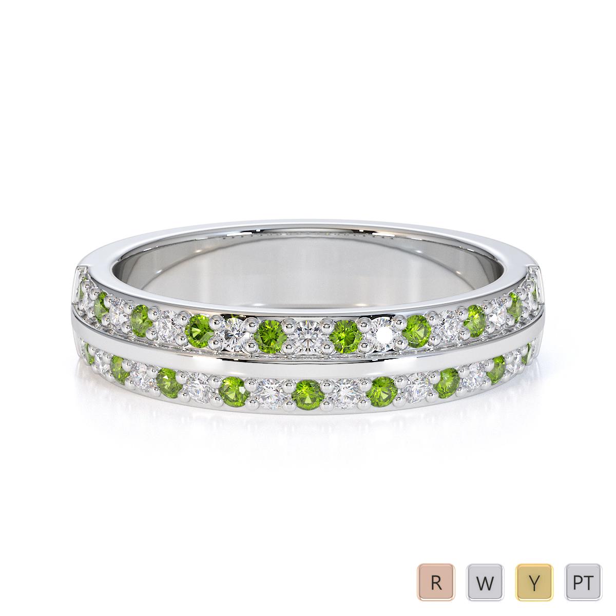 Gold / Platinum Peridot and Diamond Half Eternity Ring RZ1505