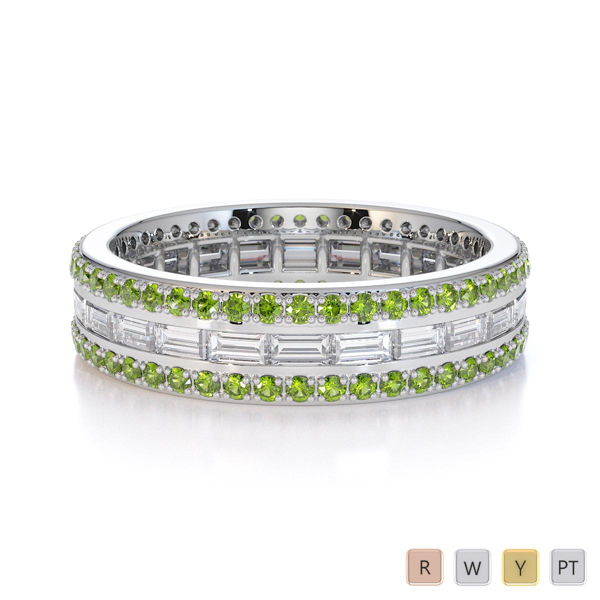 Gold / Platinum Peridot and Diamond Full Eternity Ring RZ1508