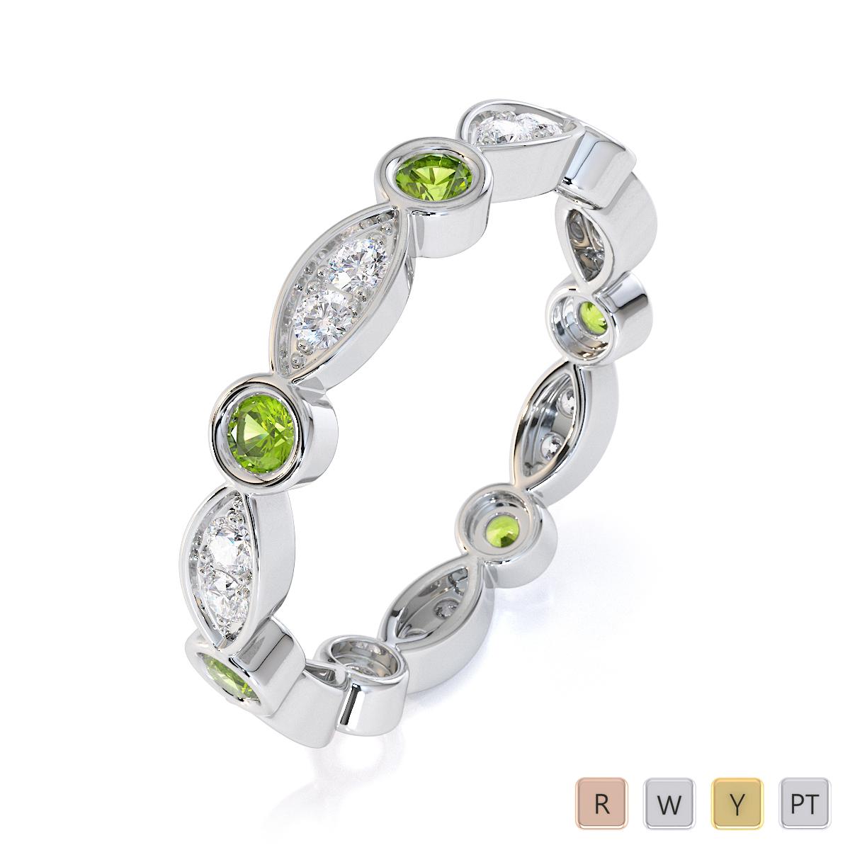 Gold / Platinum Peridot and Diamond Full Eternity Ring RZ1510
