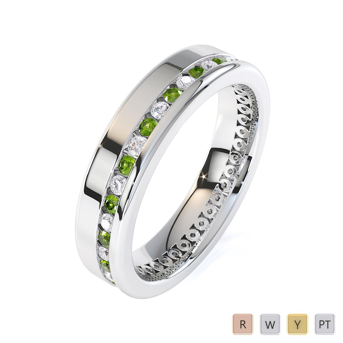 Gold / Platinum Peridot and Diamond Full Eternity Ring RZ1514