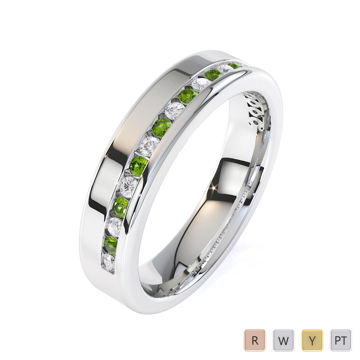 Gold / Platinum Peridot and Diamond Half Eternity Ring RZ1515