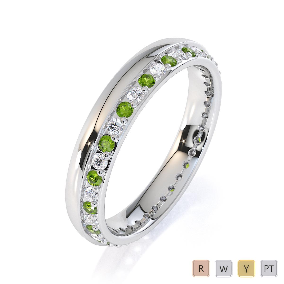 Gold / Platinum Peridot and Diamond Full Eternity Ring RZ1516