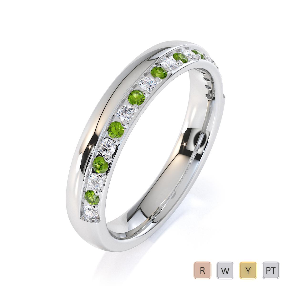 Gold / Platinum Peridot and Diamond Half Eternity Ring RZ1517