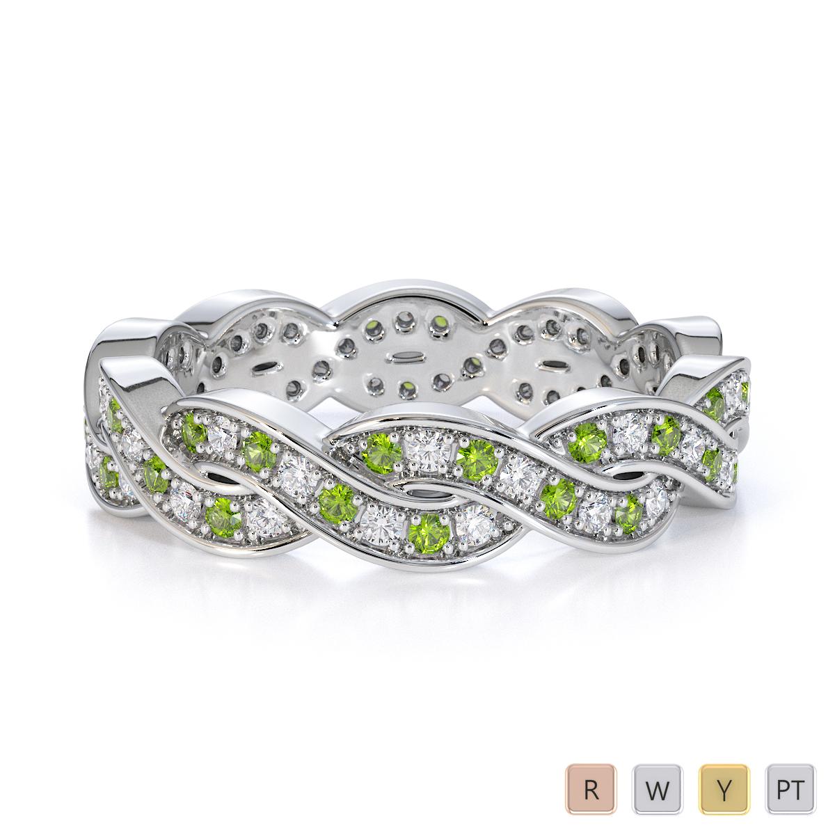 Gold / Platinum Peridot and Diamond Full Eternity Ring RZ1520