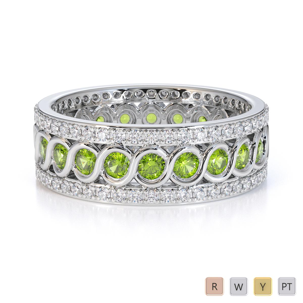 Gold / Platinum Peridot and Diamond Full Eternity Ring RZ1524