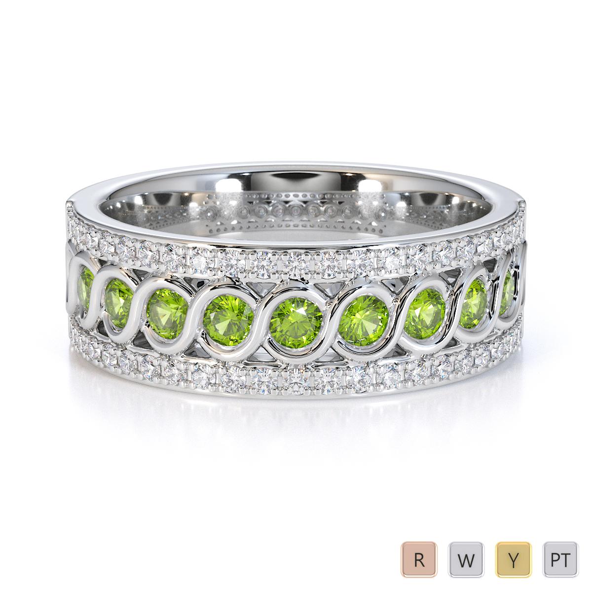 Gold / Platinum Peridot and Diamond Half Eternity Ring RZ1525