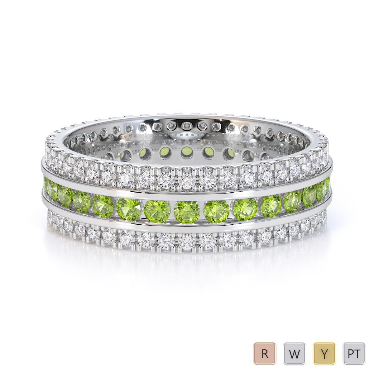 Gold / Platinum Peridot and Diamond Full Eternity Ring RZ1526
