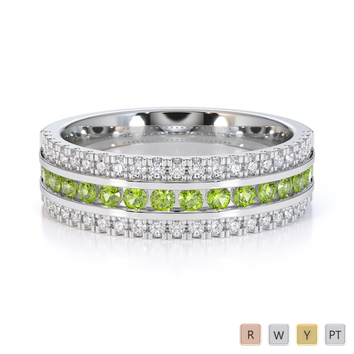 Gold / Platinum Peridot and Diamond Half Eternity Ring RZ1527