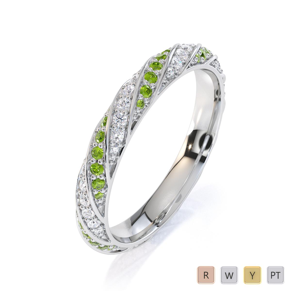 Gold / Platinum Peridot and Diamond Full Eternity Ring RZ1528