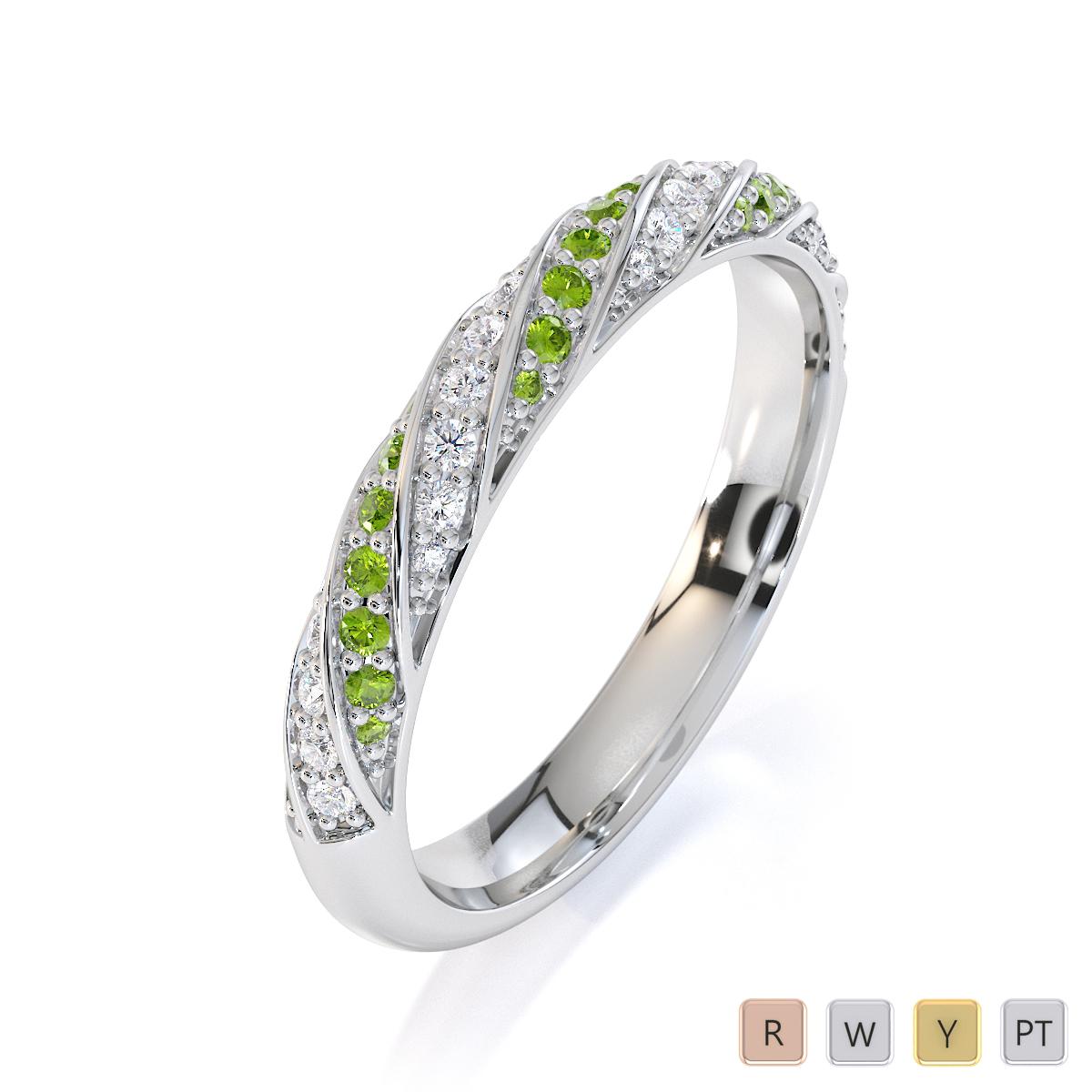 Gold / Platinum Peridot and Diamond Half Eternity Ring RZ1529