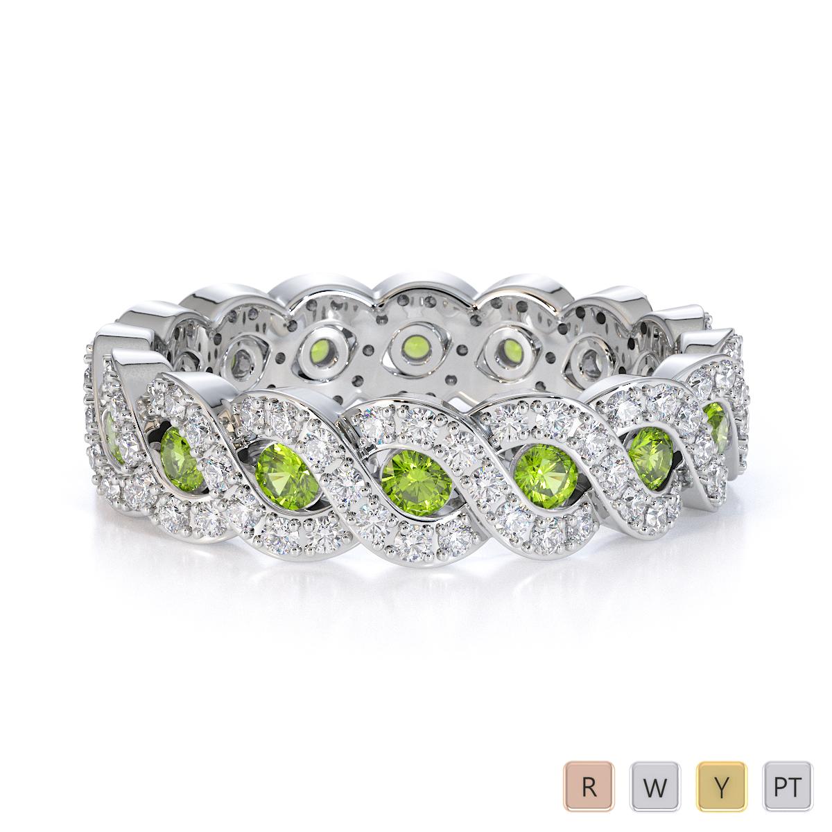 Gold / Platinum Peridot and Diamond Full Eternity Ring RZ1532