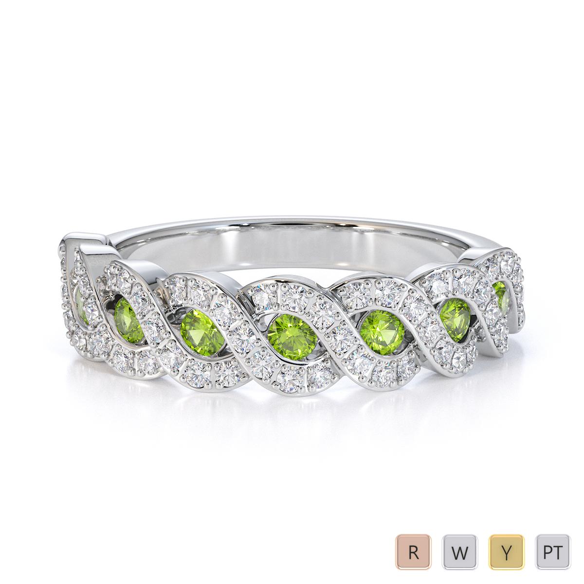 Gold / Platinum Peridot and Diamond Half Eternity Ring RZ1533
