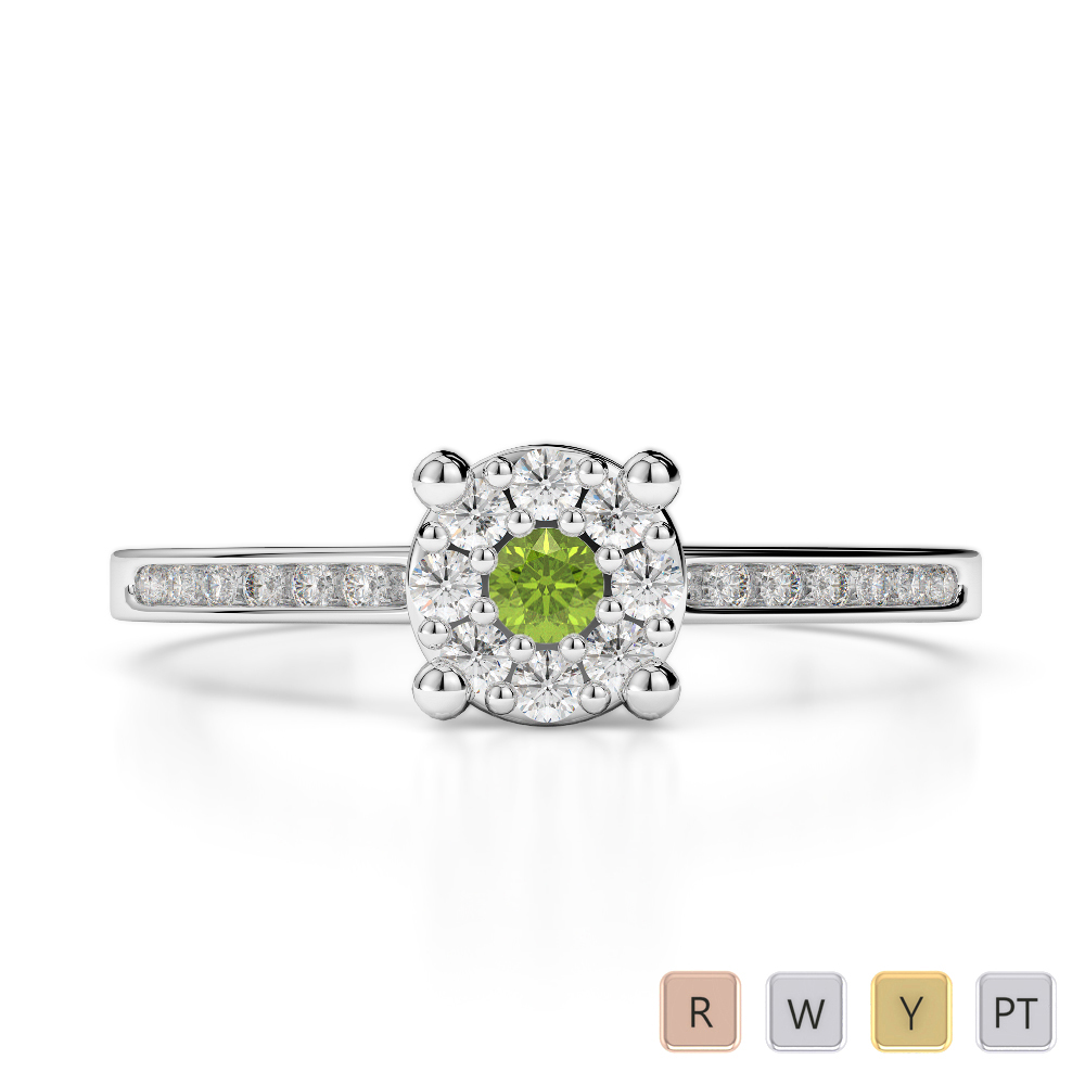 Gold / Platinum Round Cut Peridot and Diamond Engagement Ring AGDR-1163