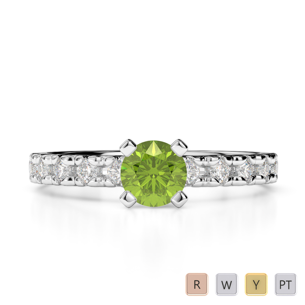 Gold / Platinum Round Cut Peridot and Diamond Engagement Ring AGDR-1171
