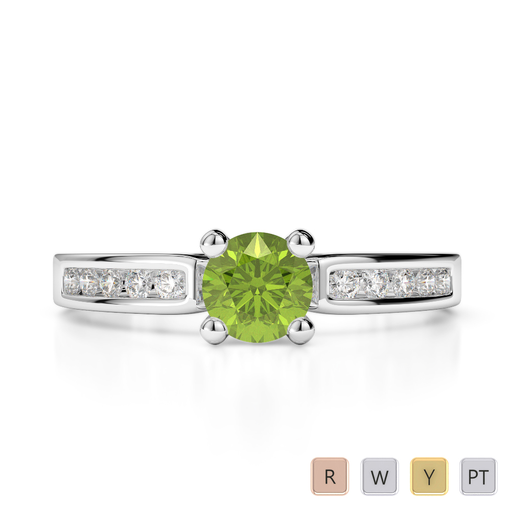 Gold / Platinum Round Cut Peridot and Diamond Engagement Ring AGDR-1184