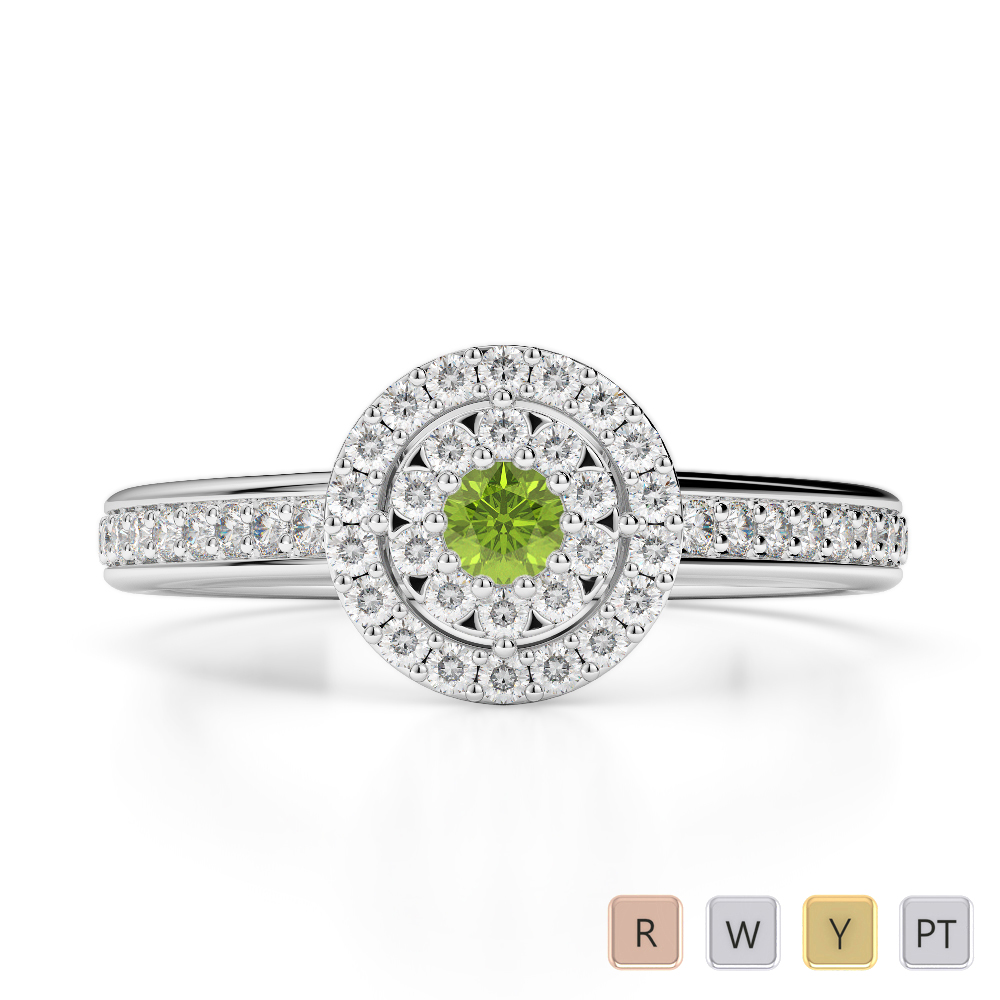 Gold / Platinum Round Cut Peridot and Diamond Engagement Ring AGDR-1188