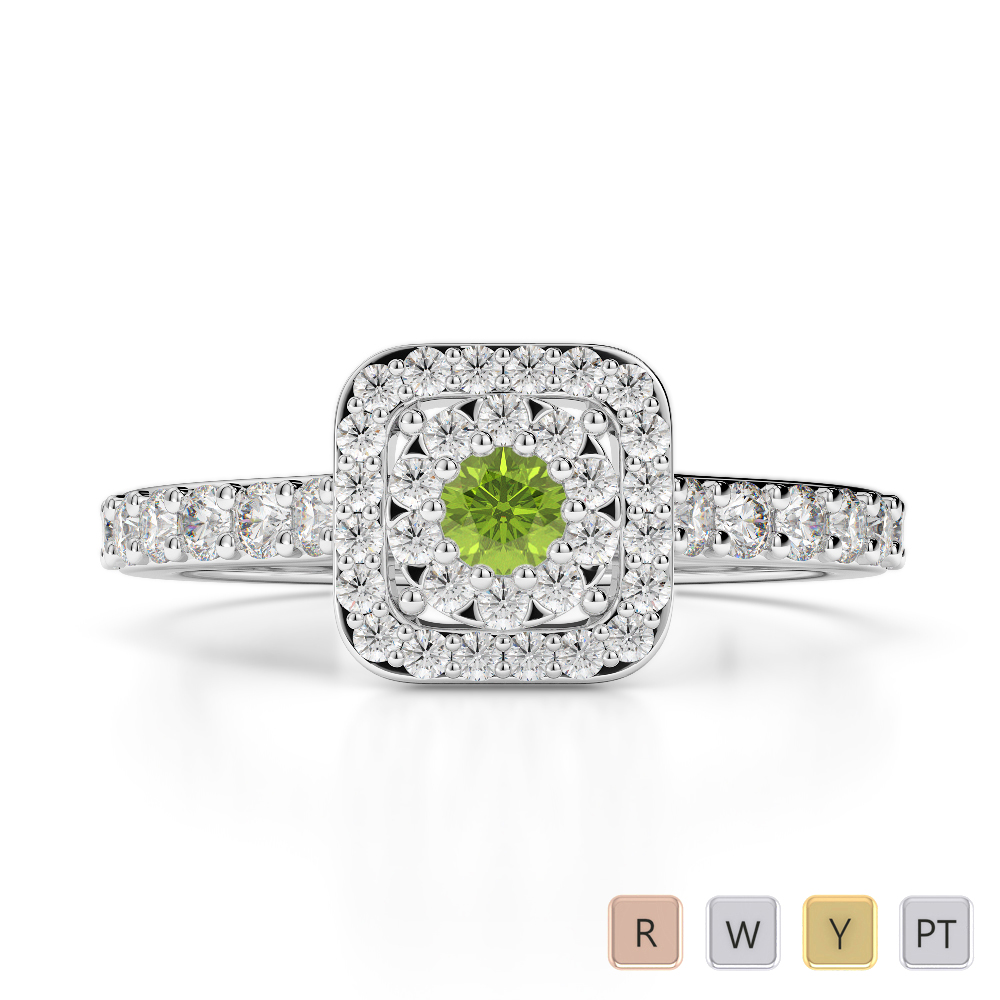 Gold / Platinum Round Cut Peridot and Diamond Engagement Ring AGDR-1189
