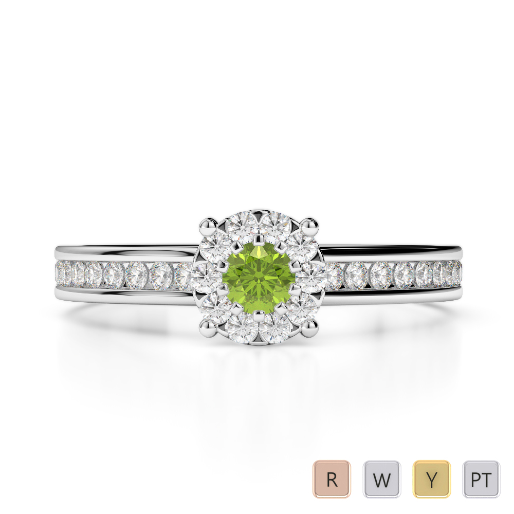 Gold / Platinum Round Cut Peridot and Diamond Engagement Ring AGDR-1190