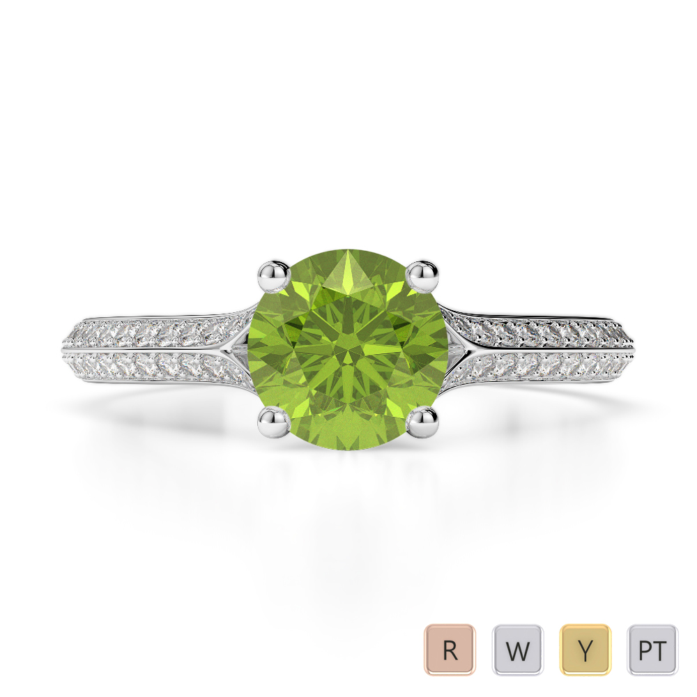 Gold / Platinum Round Cut Peridot and Diamond Engagement Ring AGDR-1200