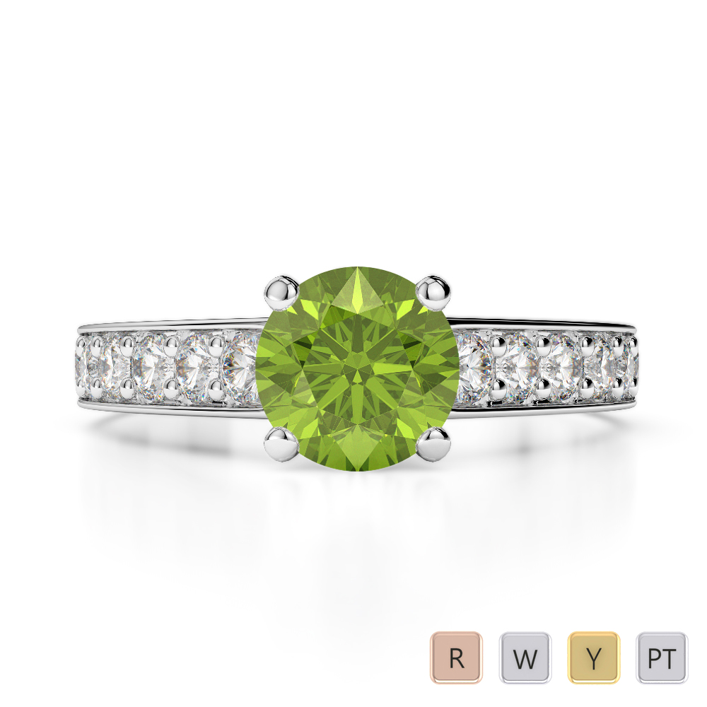 Gold / Platinum Round Cut Peridot and Diamond Engagement Ring AGDR-1202