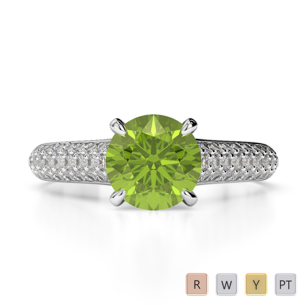 Gold / Platinum Round Cut Peridot and Diamond Engagement Ring AGDR-1203