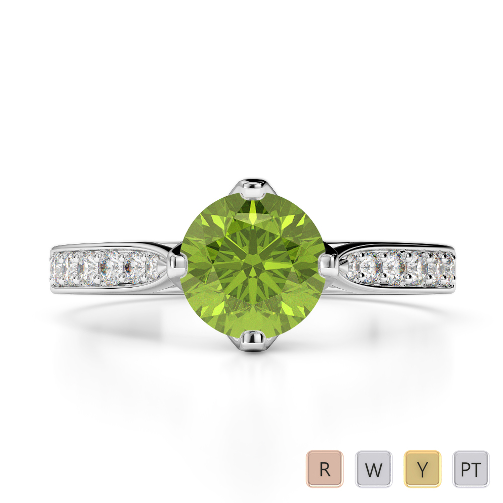 Gold / Platinum Round Cut Peridot and Diamond Engagement Ring AGDR-1204