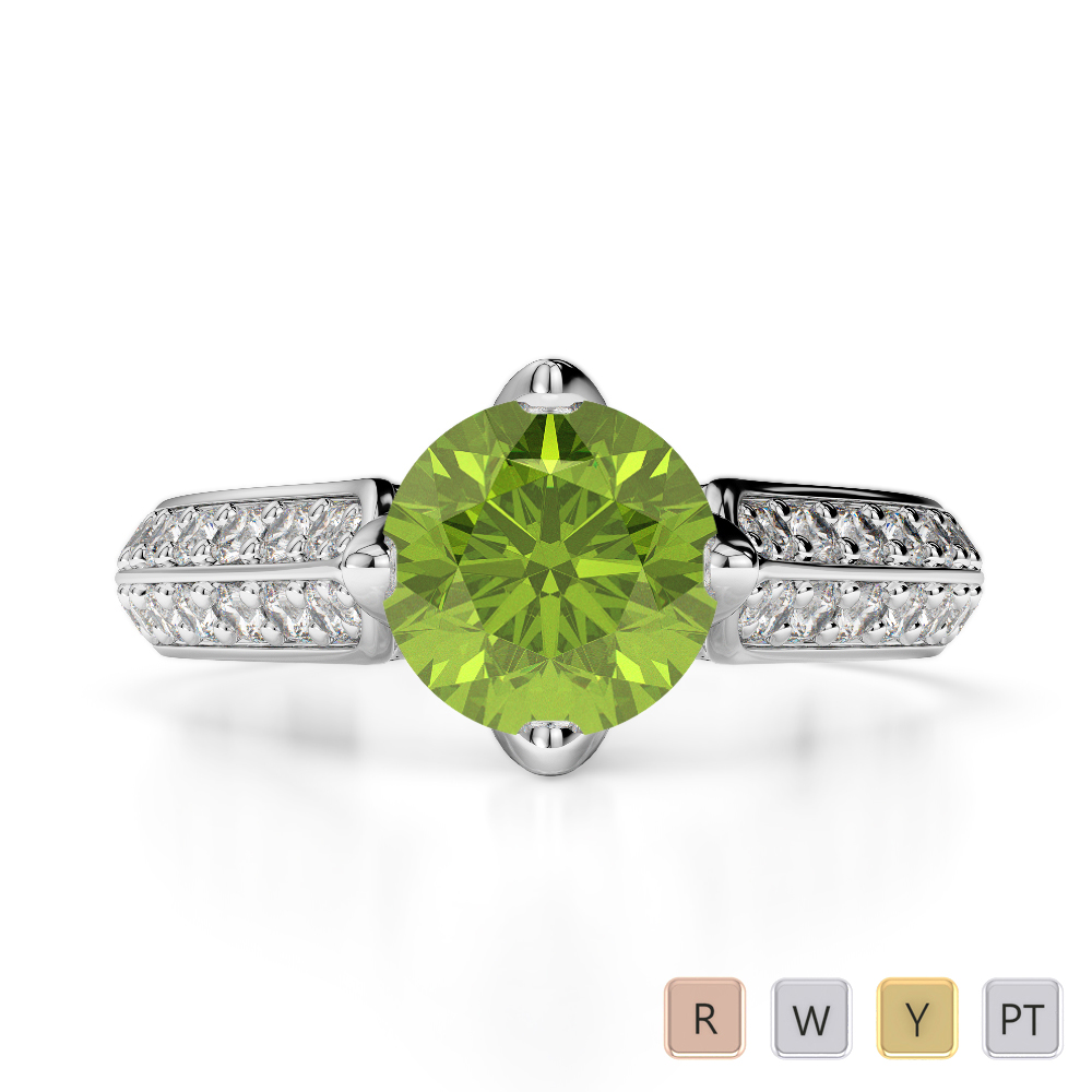 Gold / Platinum Round Cut Peridot and Diamond Engagement Ring AGDR-1205