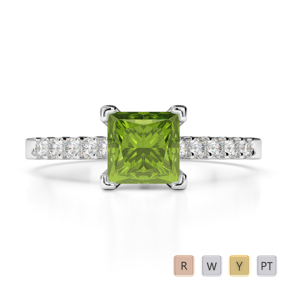 Gold / Platinum Round and Princess Cut Peridot and Diamond Engagement Ring AGDR-1210