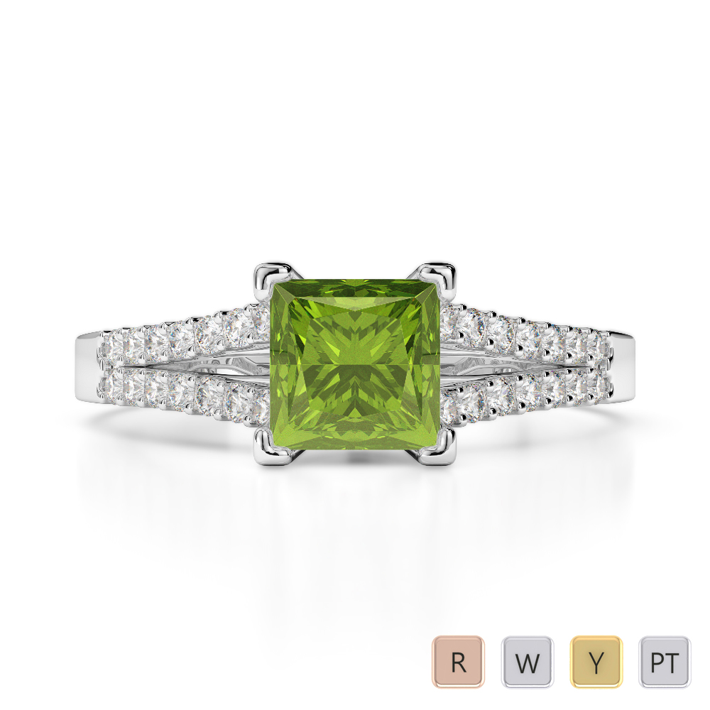 Gold / Platinum Round and Princess Cut Peridot and Diamond Engagement Ring AGDR-1211
