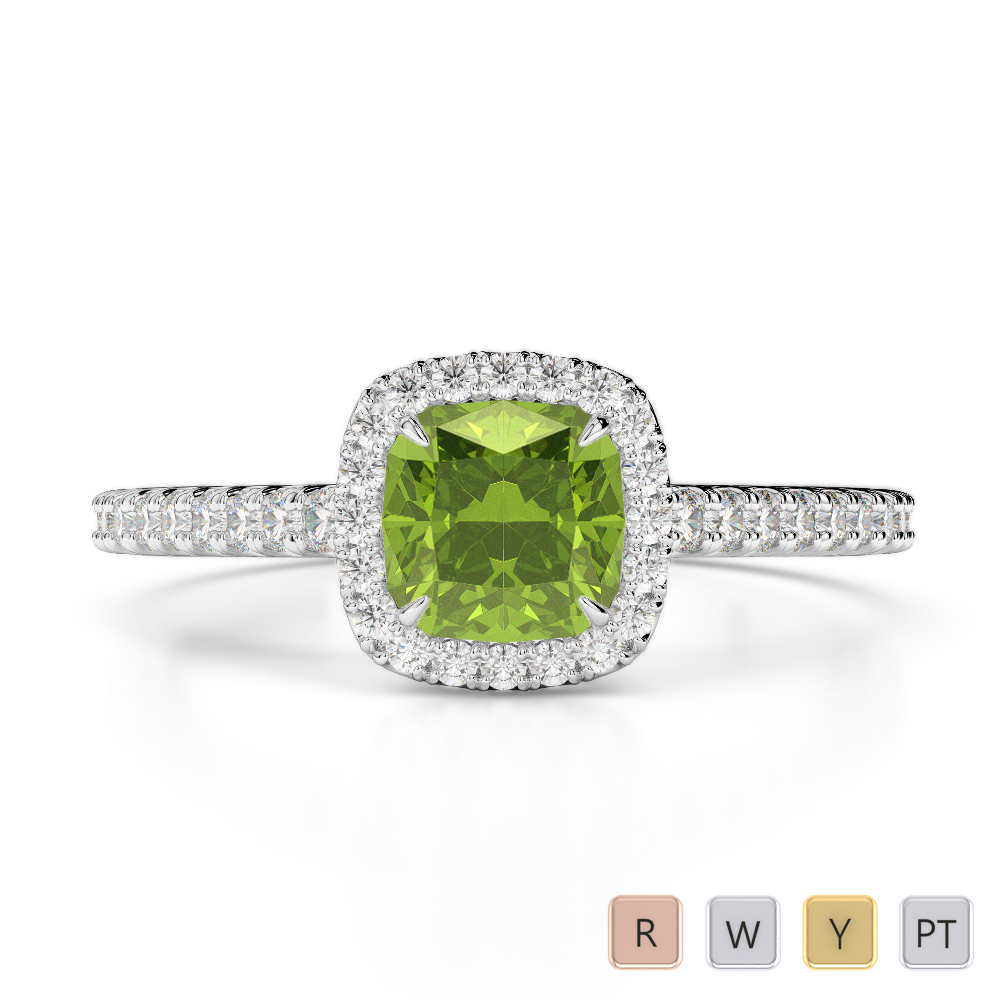 Gold / Platinum Round and Cushion Cut Peridot and Diamond Engagement Ring AGDR-1212