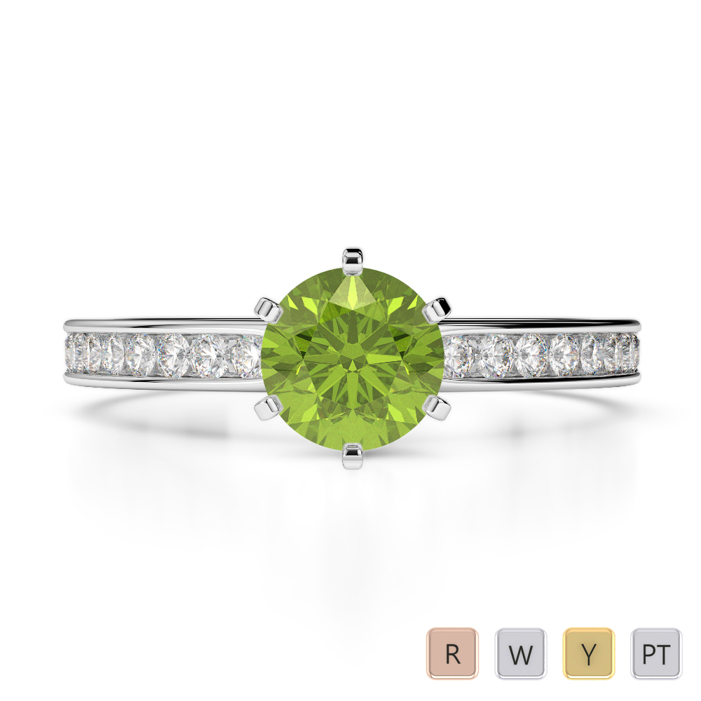 Gold / Platinum Round Cut Peridot and Diamond Engagement Ring AGDR-1214