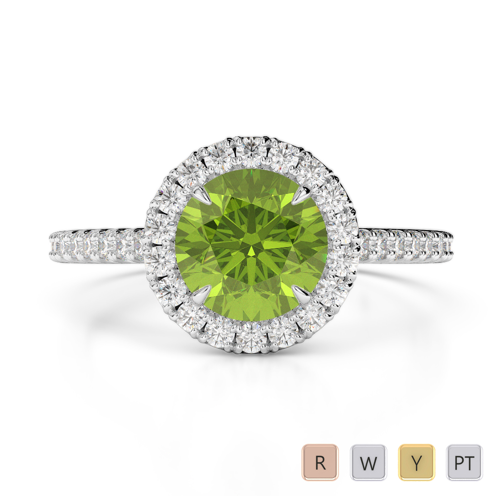 Gold / Platinum Round Cut Peridot and Diamond Engagement Ring AGDR-1215