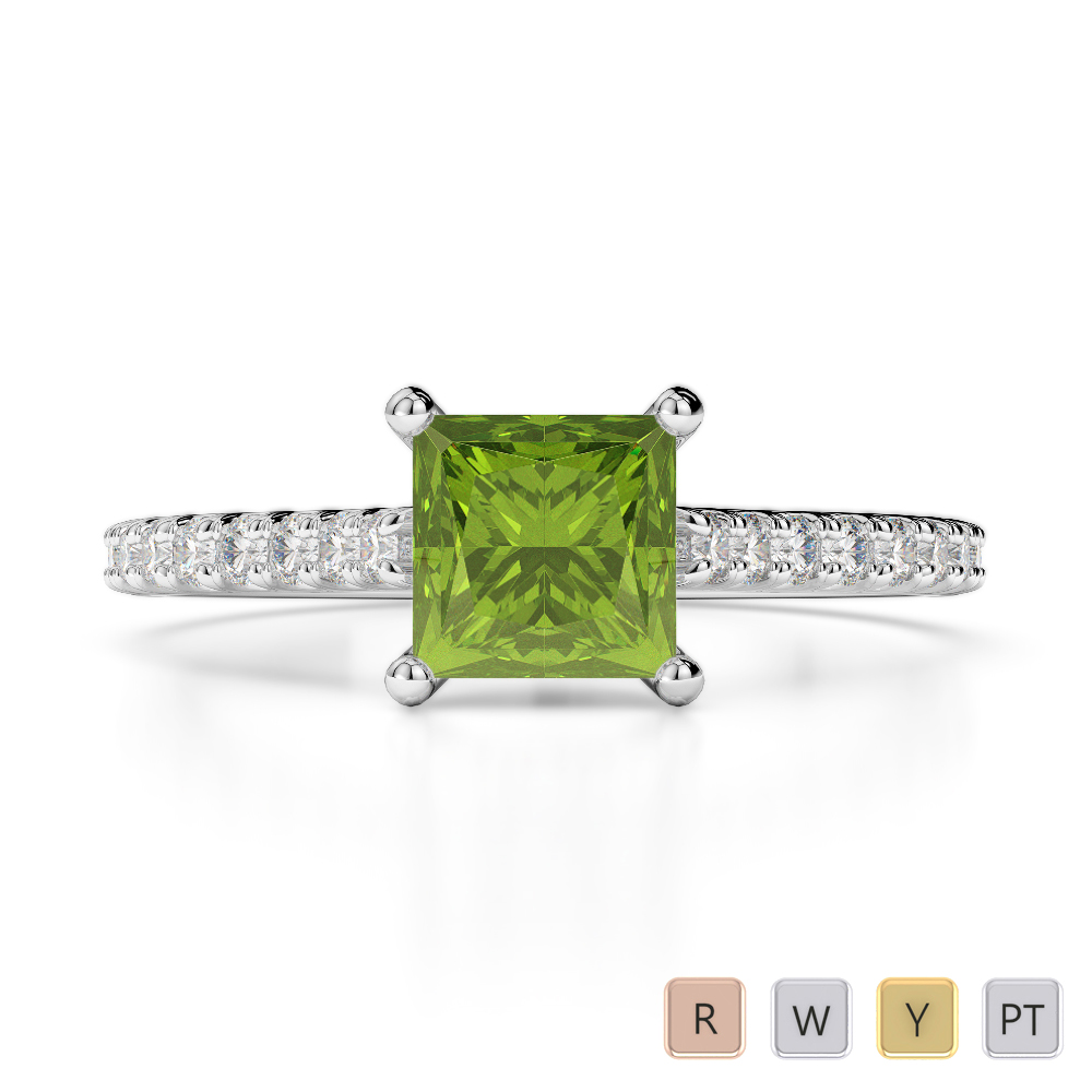 Gold / Platinum Round and Princess Cut Peridot and Diamond Engagement Ring AGDR-1217