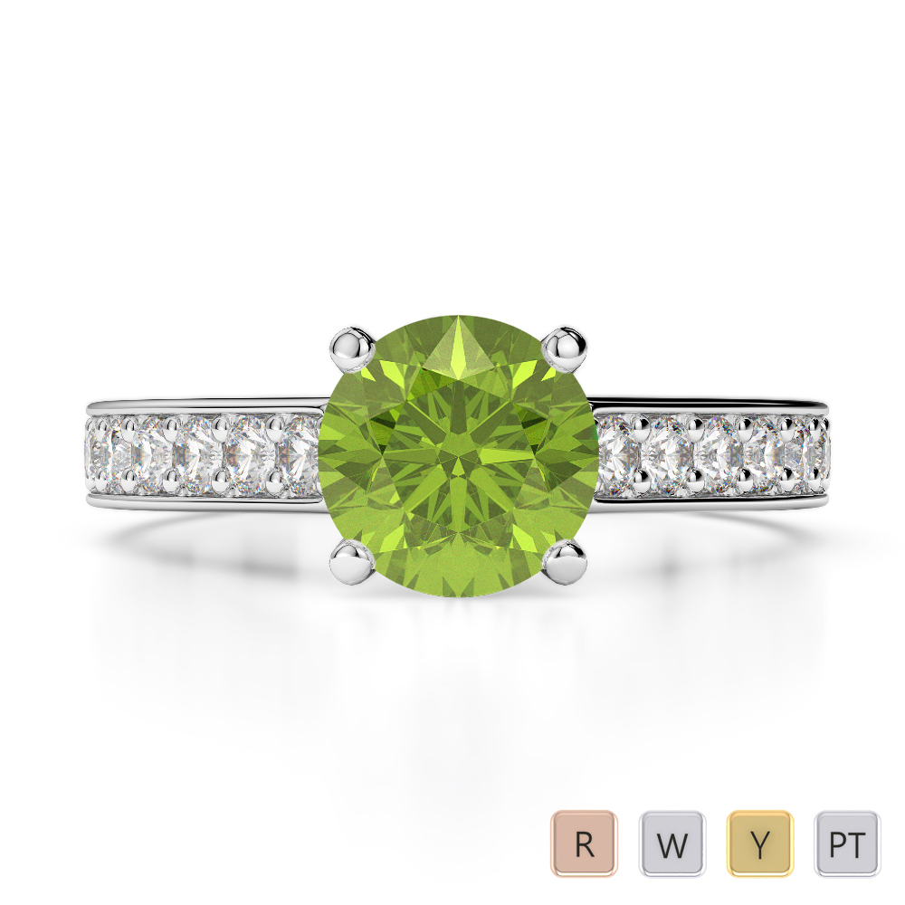 Gold / Platinum Round Cut Peridot and Diamond Engagement Ring AGDR-1219