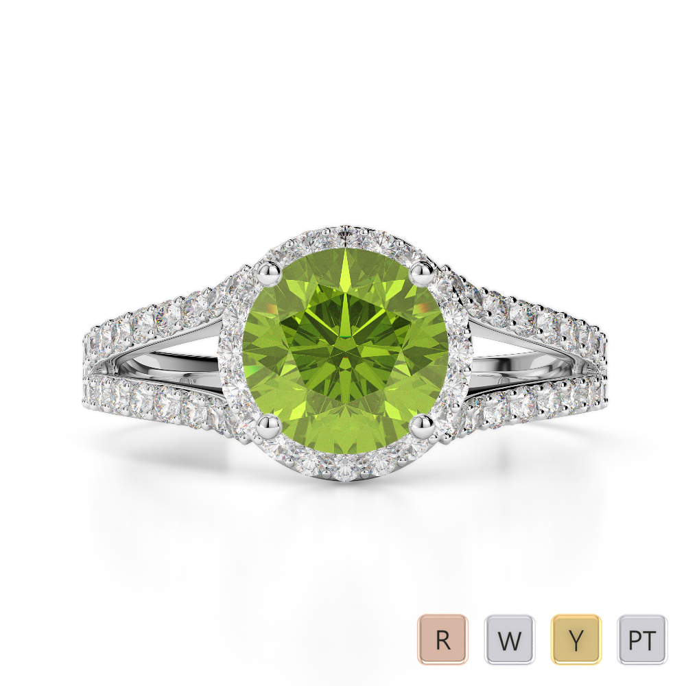 Gold / Platinum Round Cut Peridot and Diamond Engagement Ring AGDR-1220