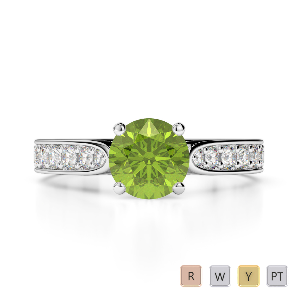 Gold / Platinum Round Cut Peridot and Diamond Engagement Ring AGDR-1221