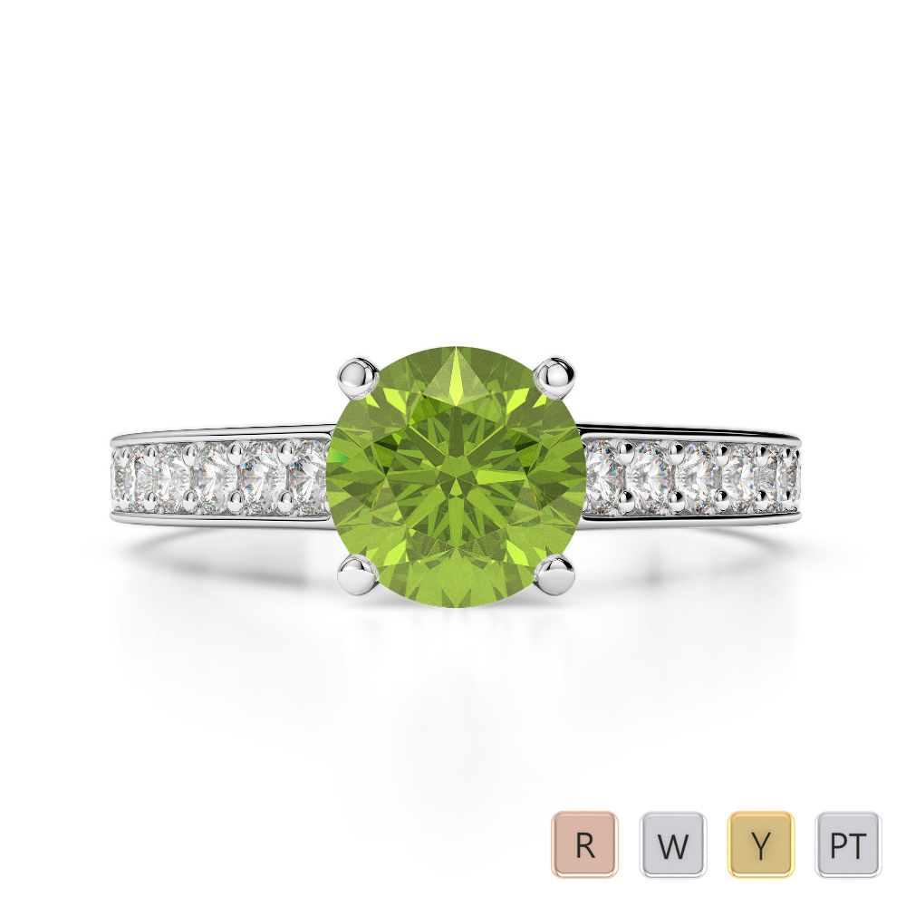 Gold / Platinum Round Cut Peridot and Diamond Engagement Ring AGDR-1222