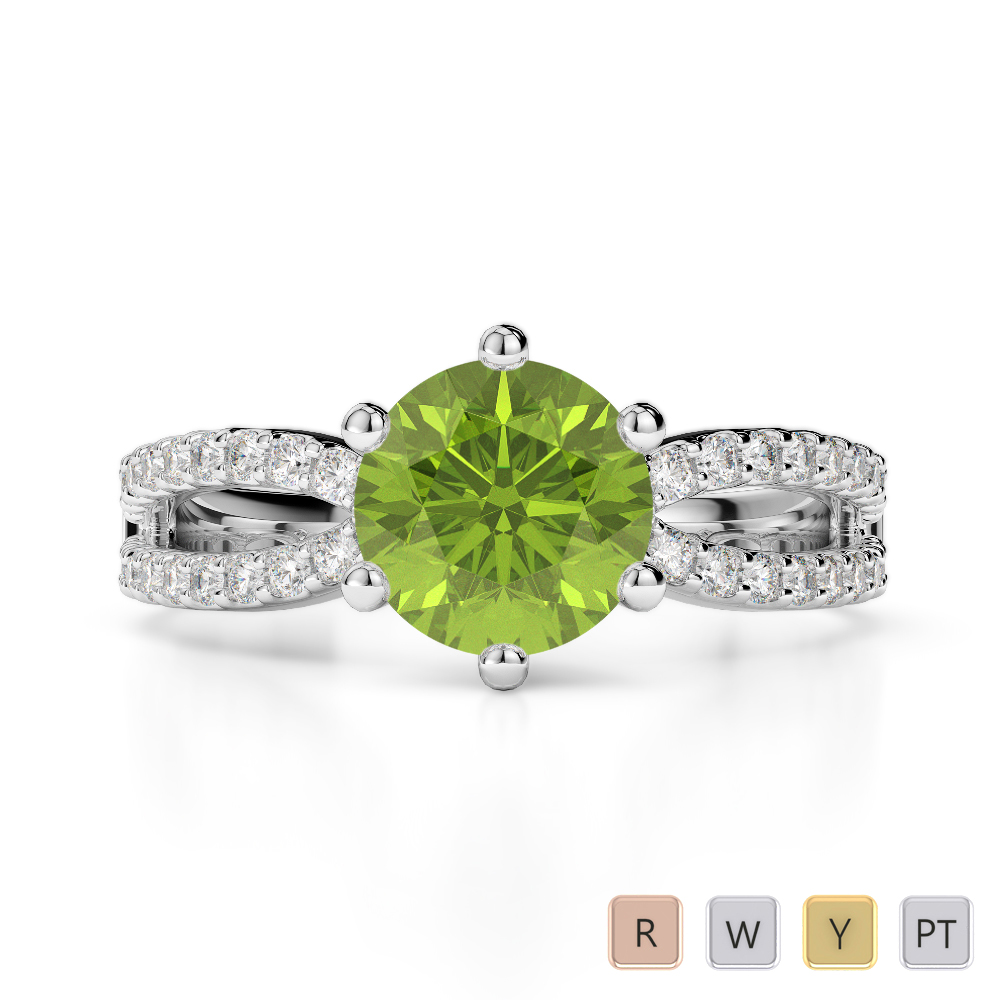 Gold / Platinum Round Cut Peridot and Diamond Engagement Ring AGDR-1223