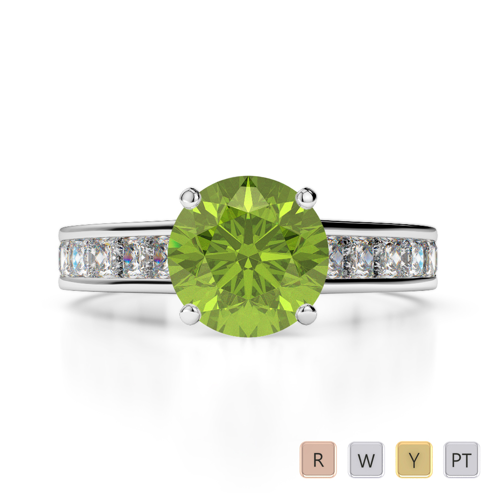 Gold / Platinum Round and Princess Cut Peridot and Diamond Engagement Ring AGDR-1224