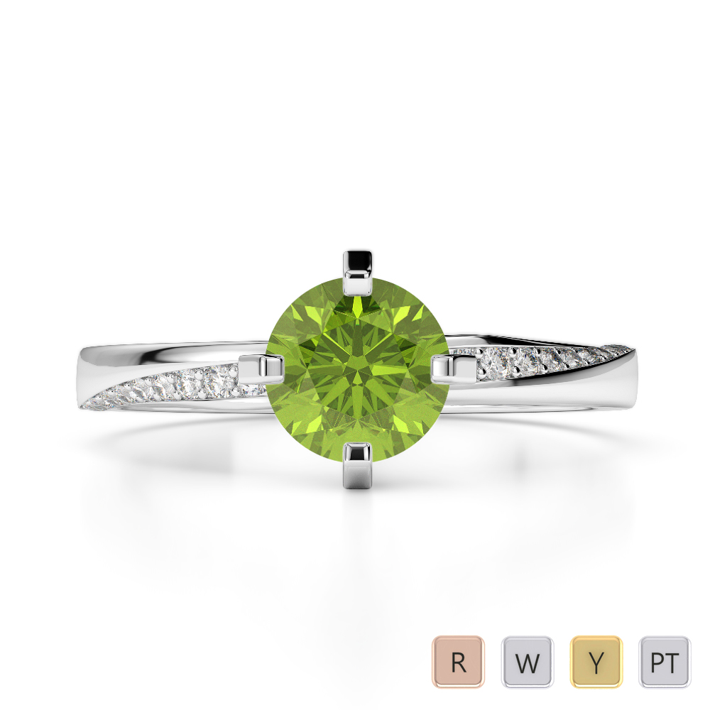 Gold / Platinum Round Cut Peridot and Diamond Engagement Ring AGDR-2002