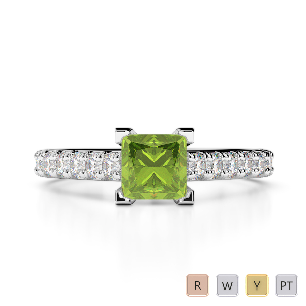 Gold / Platinum Round and Princess Cut Peridot and Diamond Engagement Ring AGDR-2008