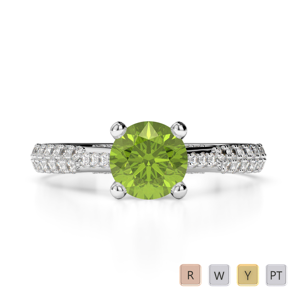 Gold / Platinum Round Cut Peridot and Diamond Engagement Ring AGDR-2014