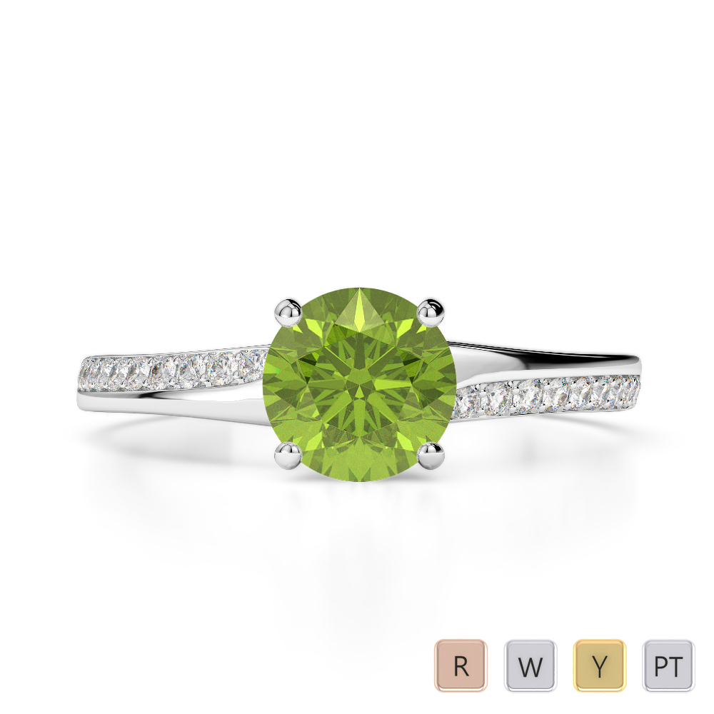 Gold / Platinum Round Cut Peridot and Diamond Engagement Ring AGDR-2016